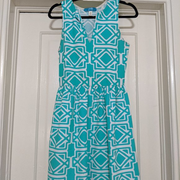 Aqua and White Fit and Flare Dress (S/M)